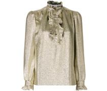 ruffle trim metallic blouse