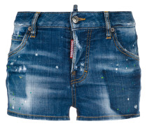 Kurze Jeans-Shorts mit Farbklecks-Print