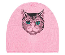 Rose Beanie With Cat Print