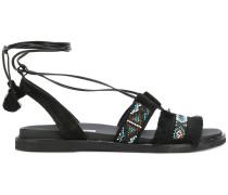 rhinestone embellished ankle tie sandals