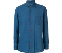 red buttoned longsleeved shirt