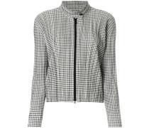 checked plissé jacket