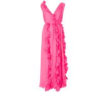 ruffle trim draped dress
