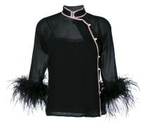 Feather Trim Silk Blouse