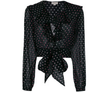 dot printed ruffle blouse