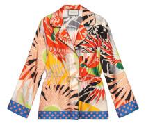 Pyjamahemd aus Seide mit Tropenvogel