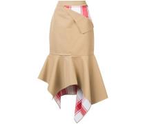 patchwork peplum asymmetric skirt