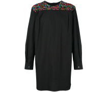 floral embroidered yoke shirt