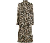 Gesmoktes Kleid mit Tiger-Print