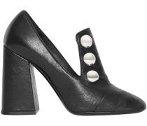Stud Detail Leather Block-heel Pumps
