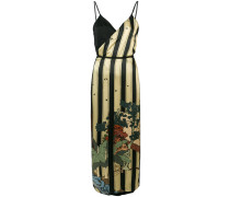 Seidenkleid mit Streifen-Print