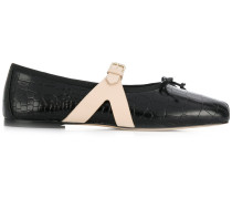 croco-embossed ballerina shoes