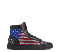 High-Top-Sneakers mit Flagge
