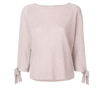ribbed knit tie sleeve sweater