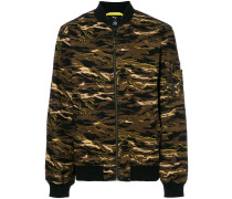camouflage print bomber