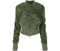 cropped gathered bomber jacket