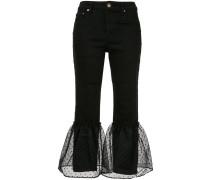 Cropped-Jeans mit Punkten