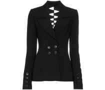 Draped cuff double breasted jacket