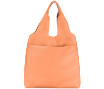 embossed double handle tote bag
