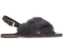 Slingback-Sandalen mit Kaninchenpelzbesatz