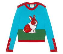 Rabbit intarsia wool knit top