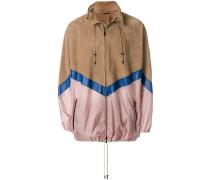 mixed fabric bomber jacket