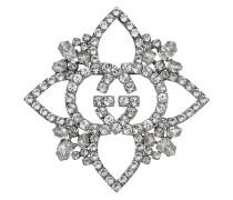 Crystal Interlocking G flower brooch