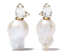 14kt Gelbgoldohrringe mit Perle und Edelsteinen