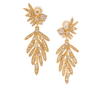 tropical palm crystal clip-on earrings