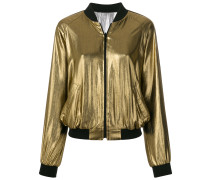 zipped metallic bomber jacket