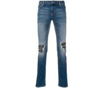 stud embellished knee patch jeans