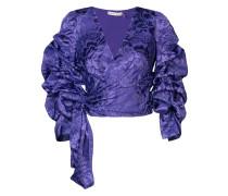 Cropped-Bluse mit gerafften Ärmeln