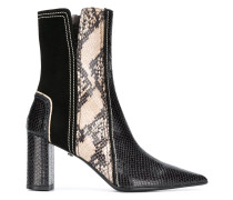 snake-effect ankle boots