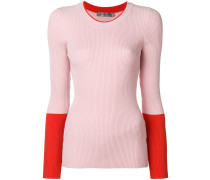 contrast sleeve fitted sweater