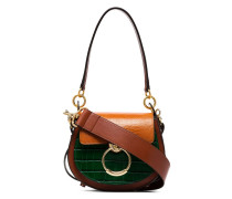 Multicoloured Mock Croc Leather Shoulder Bag