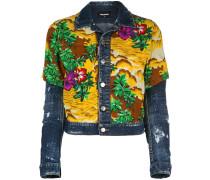 Jeansjacke mit Hawaii-Print