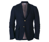 Articulated Solid Wool Flannel Sport Coat