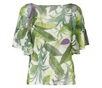 leaf print ruffle blouse