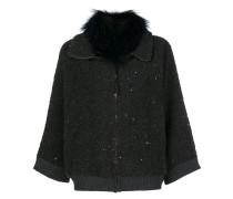 fur collar sequinned cardi-coat
