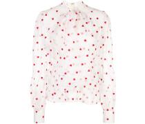heart-print sheer blouse