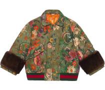 Flora Snake Vintage denim bomber jacket