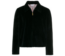 Double Welt Pocket Zip Up Jacket In Dyed Sheared Mink With Red, White And Blue Mink Intarsia Stripe