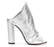 metallic slip-on sandals