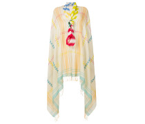 oversized embroidered detail scarf