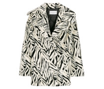 abstract pattern wide-lapel coat