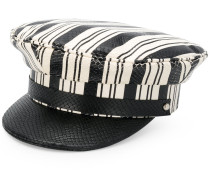 striped embossed baker boy hat