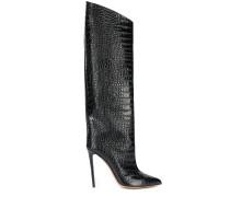 Kniehohe Stiefel mit Kroko-Effekt