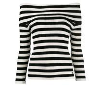 Schulterfreier Pullover mit Streifen