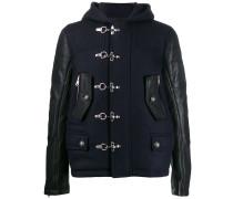 bi-material hooded jacket