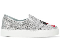 Slip-On-Sneakers im Glitter-Look